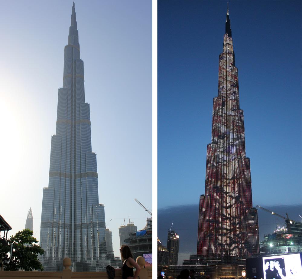 Burj Khalifa, de jour et de nuit, quand il s'illumine de mille feux !